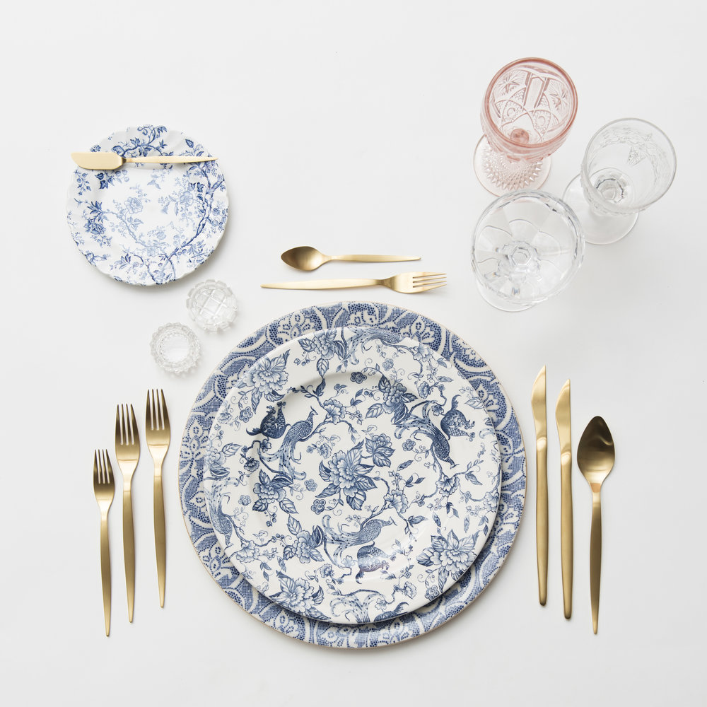 RENT: Blue Fleur de Lis Chargers + Blue Garden Collection Vintage China + Celeste Flatware in Matte Gold + Pink Vintage Goblets + Early American Pressed Glass Goblets + Vintage Champagne Coupes + Antique Crystal Salt Cellars