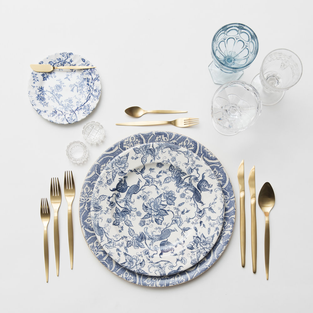 RENT: Blue Fleur de Lis Chargers + Blue Garden Collection Vintage China + Celeste Flatware in Matte Gold + Light Blue Vintage Goblets + Early American Pressed Glass Goblets + Vintage Champagne Coupes + Antique Crystal Salt Cellars