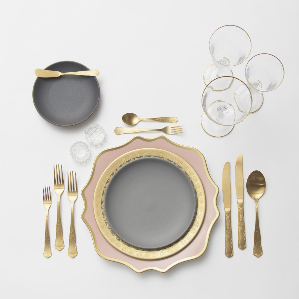 RENT: Anna Weatherley Chargers in Desert Rose/Gold + Versailles Glass Dinnerware in 24k Gold + Heath Ceramics in Indigo/Slate + Chateau Flatware in Matte Gold + Chloe 24k Gold Rimmed Stemware + Antique Crystal Salt Cellars  SHOP: Chloe 24k Gold Rimmed Stemware