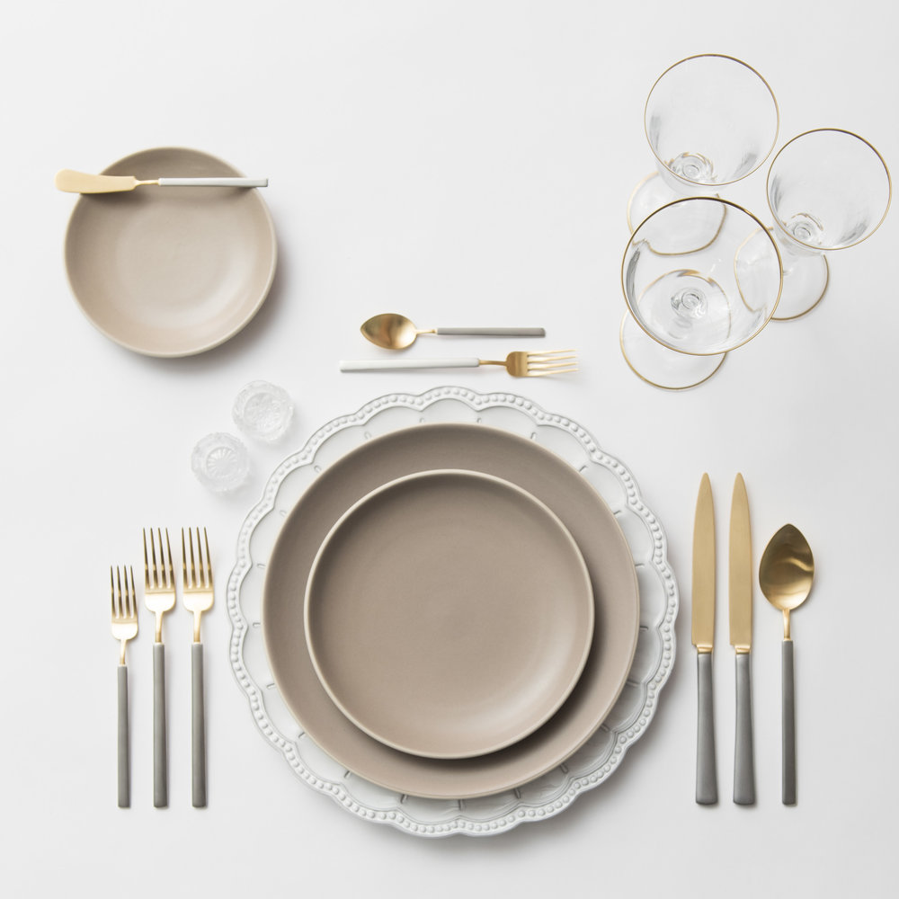 RENT: Signature Collection Chargers + Heath Ceramics in French Grey + Axel Flatware in Matte 24k Gold/Silver + Chloe 24k Gold Rimmed Stemware + Antique Crystal Salt Cellars  SHOP: Chloe 24k Gold Rimmed Stemware