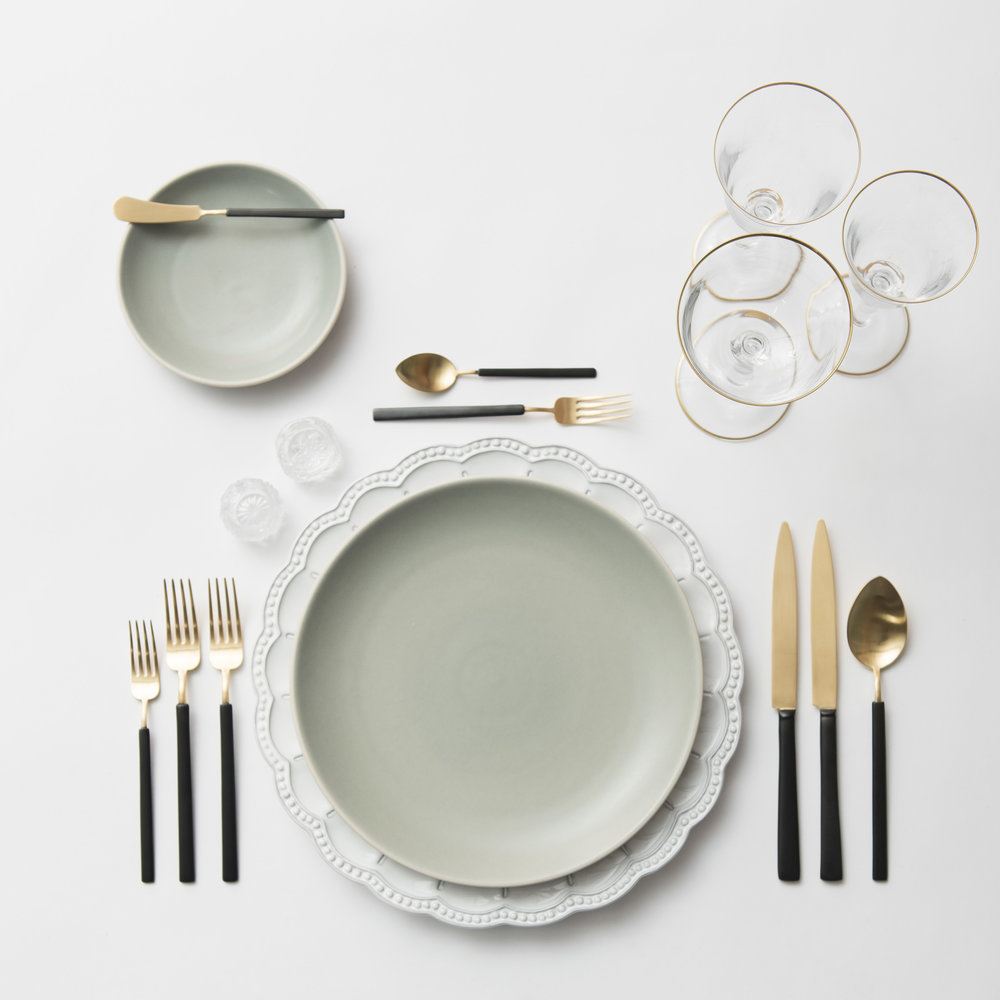 RENT: Signature Collection Chargers + Heath Ceramics in Mist + Axel Flatware in Matte 24k Gold/Black + Chloe 24k Gold Rimmed Stemware + Antique Crystal Salt Cellars  SHOP: Chloe 24k Gold Rimmed Stemware