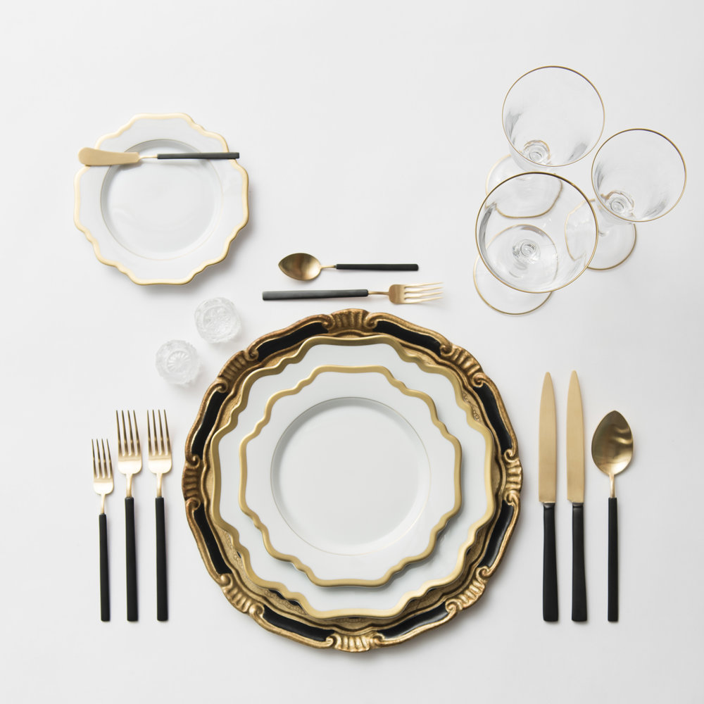 RENT: Florentine Chargers in Black/Gold + Anna Weatherley Dinnerware in White/Gold + Axel Flatware in Matte 24k Gold/Black + Chloe 24k Gold Rimmed Stemware + Antique Crystal Salt Cellars  SHOP: Anna Weatherley Dinnerware in White/Gold + Chloe 24k Gold Rimmed Stemware