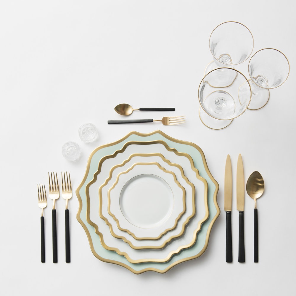 RENT: Anna Weatherley Chargers in Aqua Sky/Gold + Anna Weatherley Dinnerware in White/Gold + Axel Flatware in Matte 24k Gold/Black + Chloe 24k Gold Rimmed Stemware + Antique Crystal Salt Cellars  SHOP: Anna Weatherley Dinnerware in White/Gold + Chloe 24k Gold Rimmed Stemware