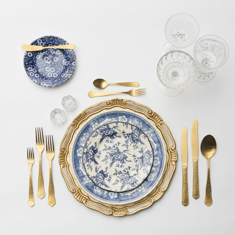 RENT: Florentine Chargers in White/Gold + Blue Garden Collection Vintage China + Chateau Flatware in Matte Gold + Vintage Cut Crystal Goblets + Early American Pressed Glass Goblets + Vintage Champagne Coupes + Antique Crystal Salt Cellars   SHOP: Florentine Chargers in White/Gold