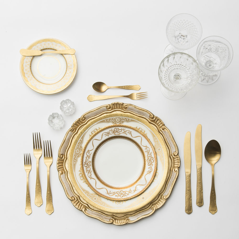 RENT: Florentine Chargers in White/Gold + Crown Gold Collection Vintage China + Chateau Flatware in Matte Gold + Vintage Cut Crystal Goblets + Early American Pressed Glass Goblets + Vintage Champagne Coupes + Antique Crystal Salt Cellars   SHOP: Florentine Chargers in White/Gold