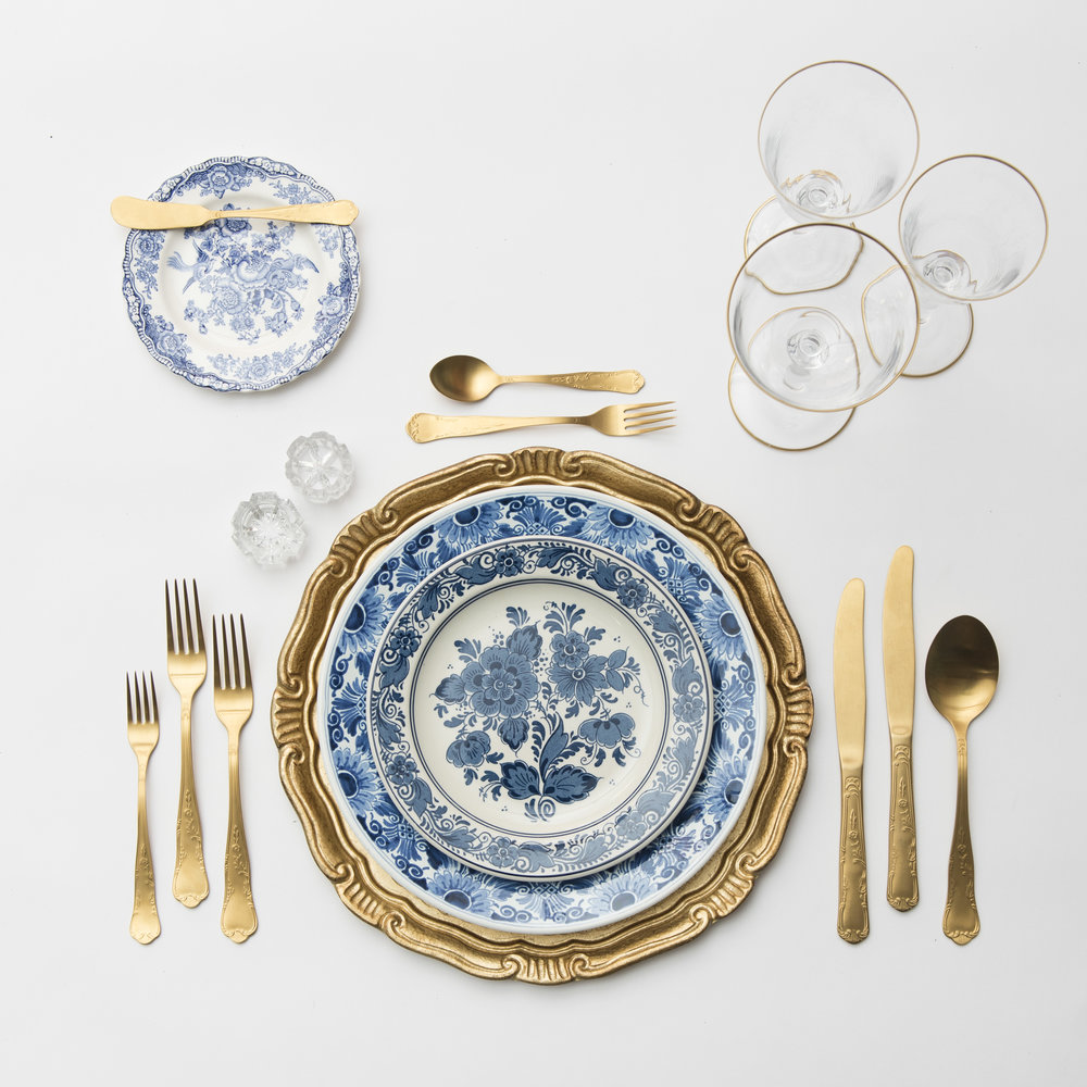 RENT: Florentine Chargers in Gold + Blue Garden Collection Vintage China + Chateau Flatware in Matte Gold + Chloe 24k Gold Rimmed Stemware + Antique Crystal Salt Cellars   SHOP: Florentine Chargers in White/Gold + Chloe 24k Gold Rimmed Stemware