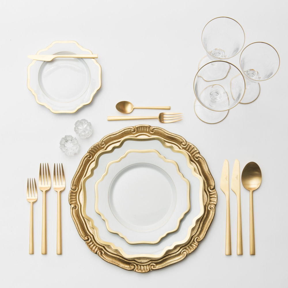 RENT: Florentine Chargers in Gold + Anna Weatherley Dinnerware in White/Gold + Rondo Flatware in Brushed 24k Gold + Chloe 24k Gold Rimmed Stemware + Antique Crystal Salt Cellars   SHOP: Florentine Chargers in Gold + Anna Weatherley Dinnerware in White/Gold + Chloe 24k Gold Rimmed Stemware