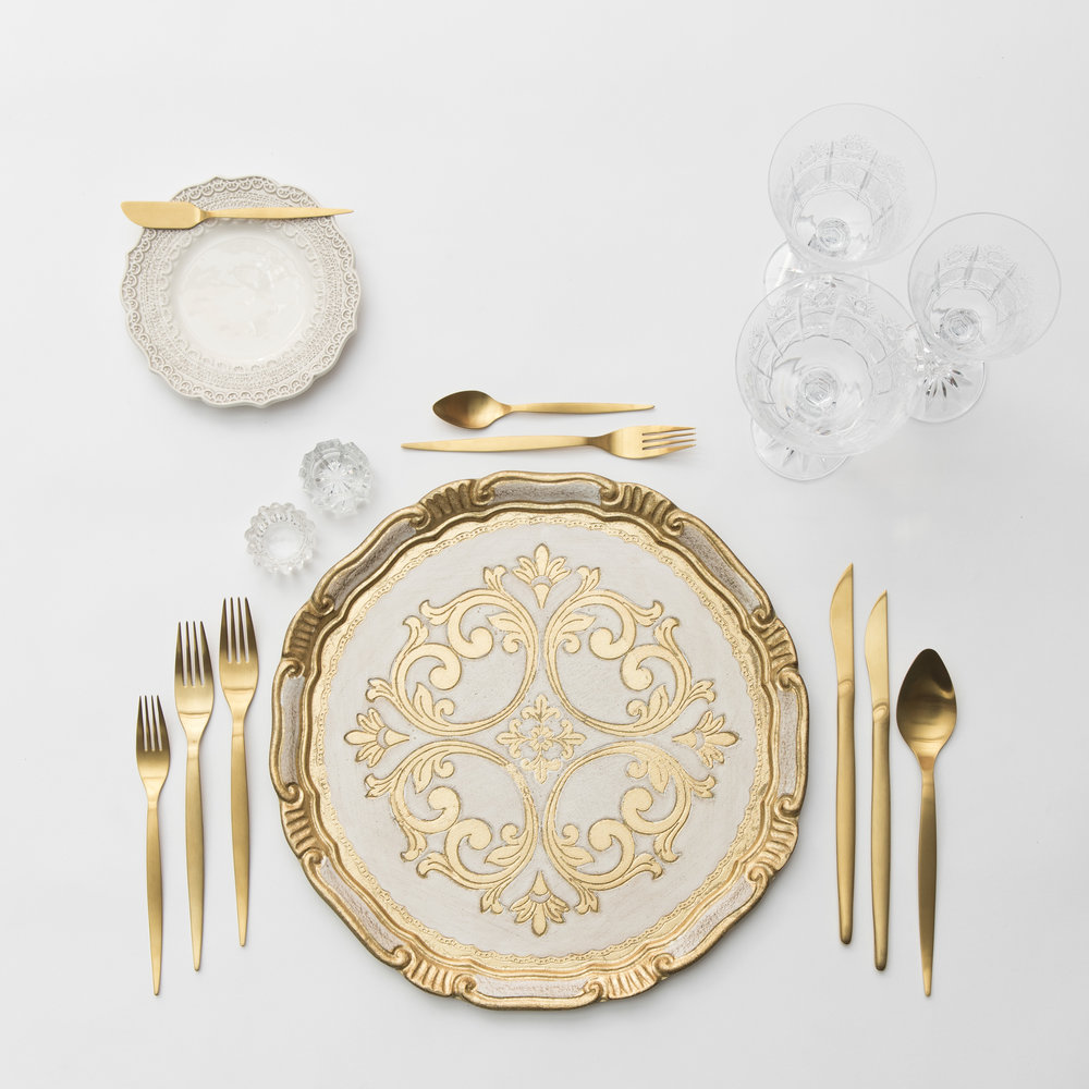 RENT: Florentine Chargers in White/Gold + Lace Dinnerware in White + Celeste Flatware in Matte Gold + Vintage Cut Crystal Goblets + Early American Pressed Glass Goblets + Vintage Champagne Coupes + Antique Crystal Salt Cellars   SHOP: Florentine Chargers in White/Gold