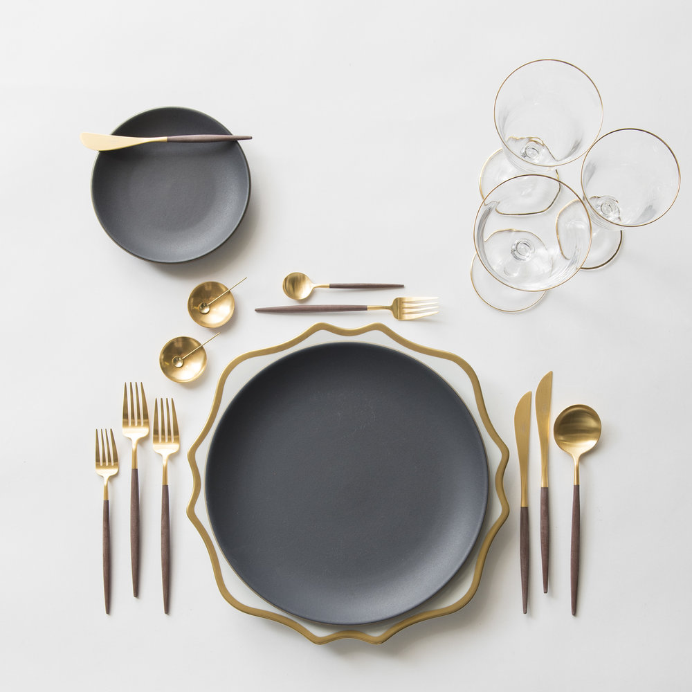 RENT: Anna Weatherley Chargers in White/Gold + Heath Ceramics in Indigo/Slate + Goa Flatware in Brushed 24k Gold/Wood + Chloe 24k Gold Rimmed Stemware + 14k Gold Salt Cellars + Tiny Gold Spoons  SHOP: Anna Weatherley Chargers in White/Gold + Goa Flatware in Brushed 24k Gold/Wood + Chloe 24k Gold Rimmed Stemware + 14k Gold Salt Cellars + Tiny Gold Spoons