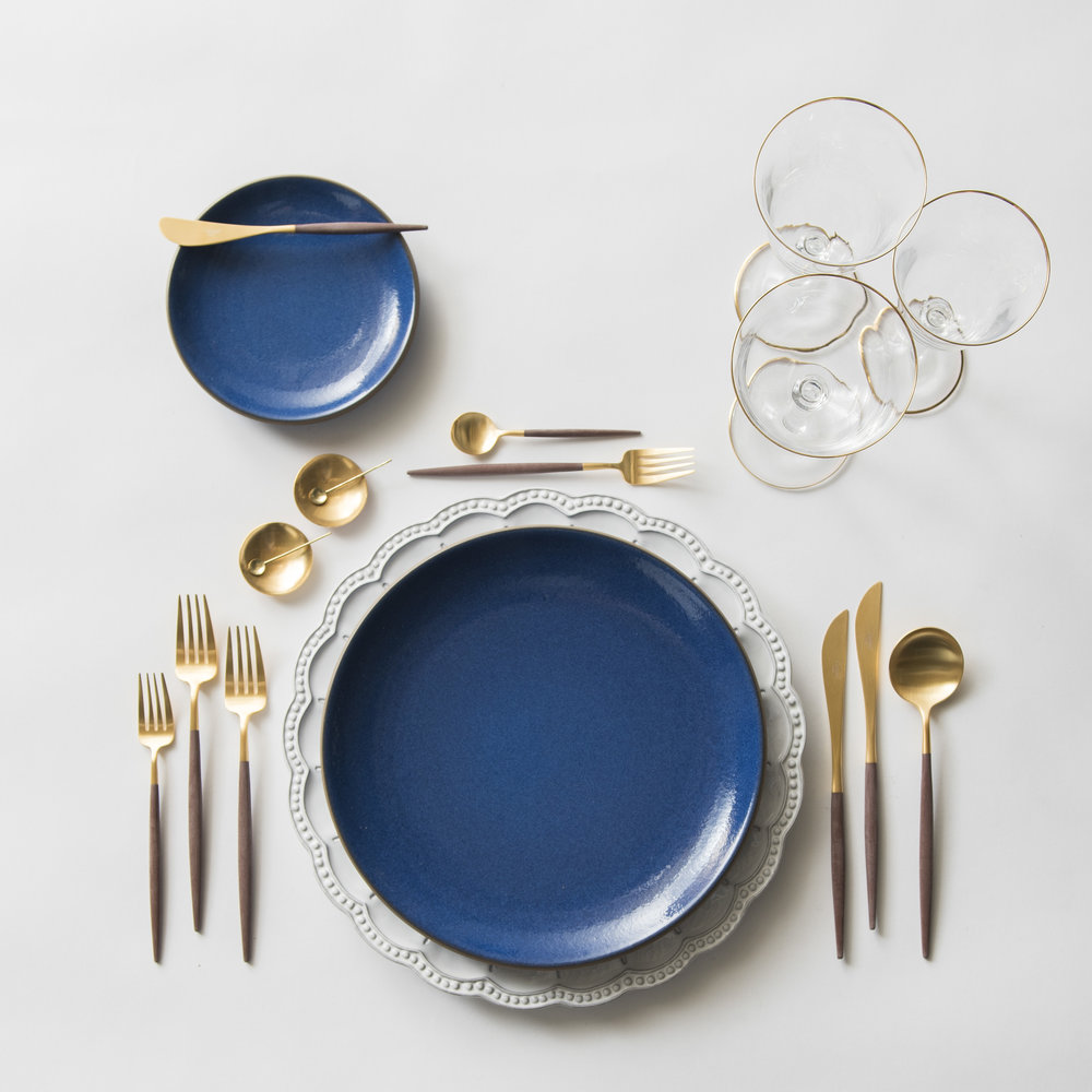 RENT: Signature Collection Chargers + Heath Ceramics in Moonstone + Goa Flatware in Brushed 24k Gold/Wood + Chloe 24k Gold Rimmed Stemware + 14k Gold Salt Cellars + Tiny Gold Spoons   SHOP: Goa Flatware in Brushed 24k Gold/Wood + Chloe 24k Gold Rimmed Stemware + 14k Gold Salt Cellars + Tiny Gold Spoons