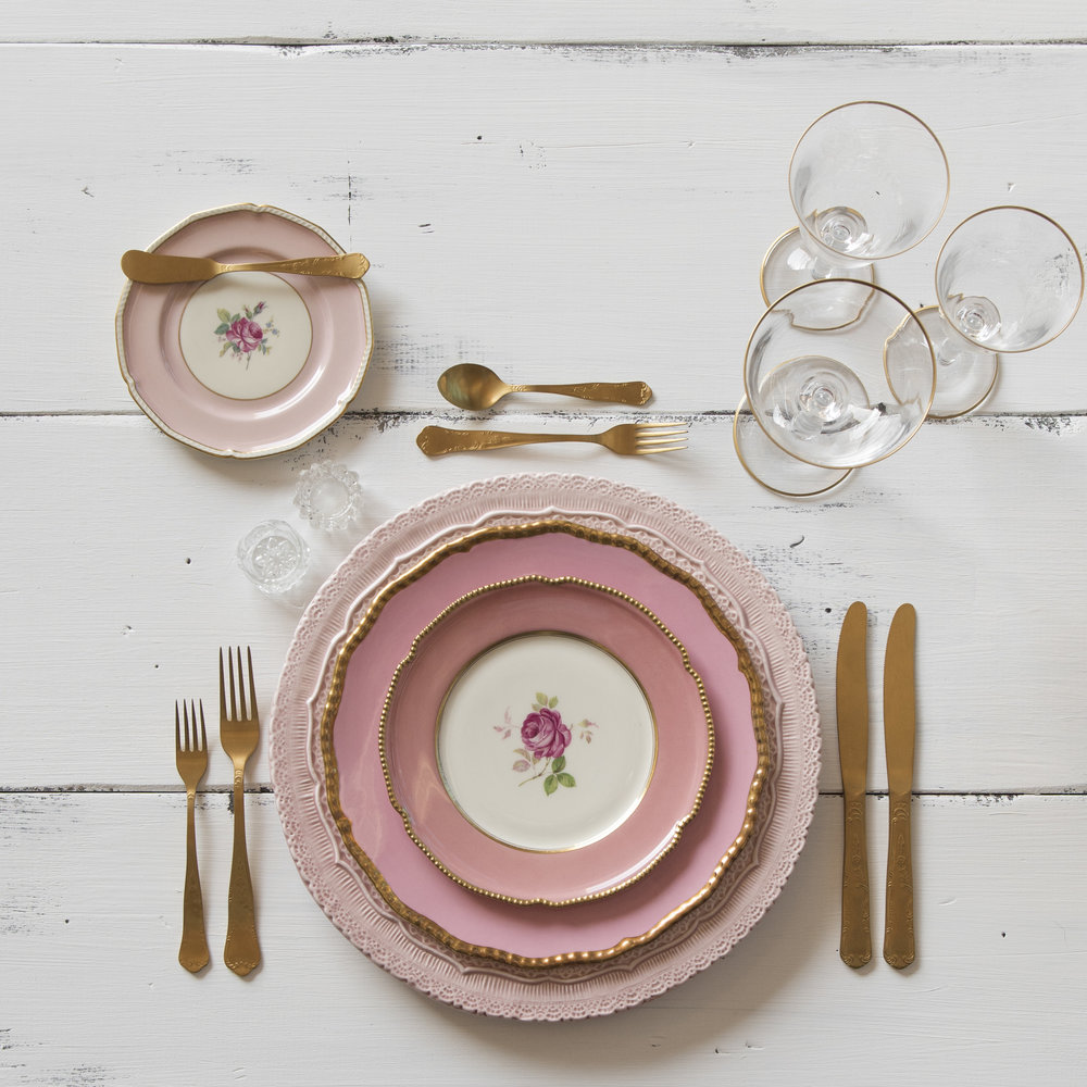 RENT: Lace Chargers in Blush + Pink Botanicals Vintage China + Chateau Flatware in Matte Gold + Chloe 24k Gold Rimmed Stemware + Antique Crystal Salt Cellars   SHOP: Chloe 24k Gold Rimmed Stemware