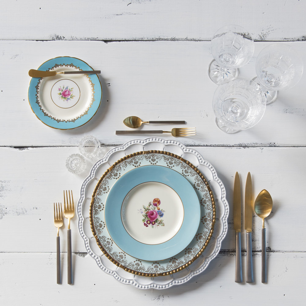 RENT: Signature Collection Chargers + Blue Botanicals Vintage China + Axel Flatware in Matte 24k Gold/Silver + Czech Crystal Stemware + Antique Crystal Salt Cellars