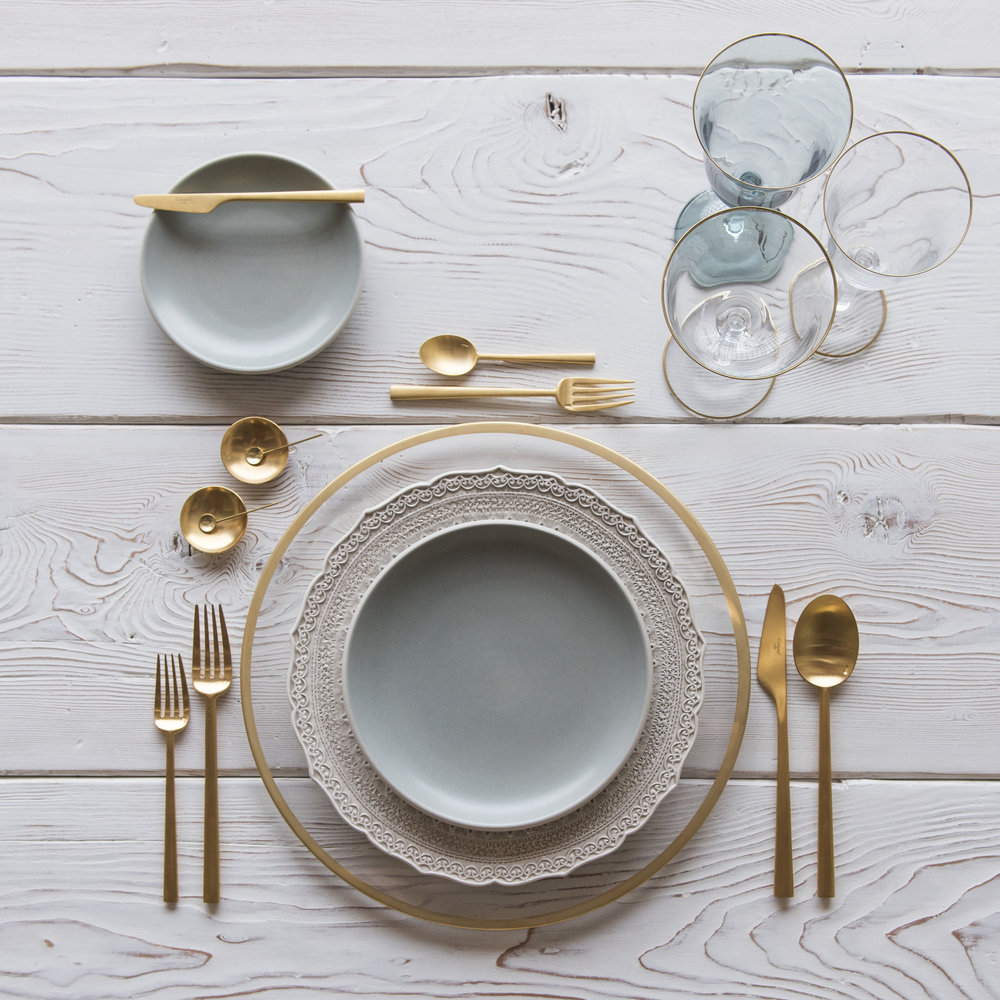 RENT: Halo Glass Chargers in 24k Gold + Lace Dinnerware in White + Heath Ceramics in Mist + Rondo Flatware in Brushed 24k Gold + Chloe 24k Gold Rimmed Stemware + Chloe 24k Gold Rimmed Goblet in Agave + 14k Gold Salt Cellars + Tiny Gold Spoons   SHOP: Halo Glass Chargers in 24k Gold + Rondo Flatware in Brushed 24k Gold + Chloe 24k Gold Rimmed Stemware + 14k Gold Salt Cellars + Tiny Gold Spoons