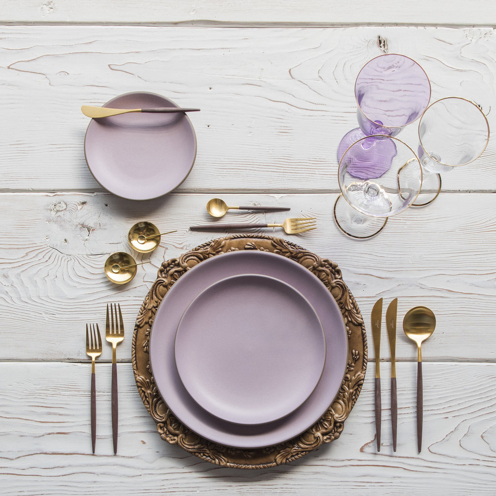 RENT: Verona Chargers in Walnut + Custom Heath Ceramics in Wildflower + Goa Flatware in Brushed 24k Gold/Wood + Chloe 24k Gold Rimmed Stemware + Chloe 24k Gold Rimmed Goblet in Lilac + 14k Gold Salt Cellars + Tiny Gold Spoons   SHOP: Verona Chargers in Walnut + Goa Flatware in Brushed 24k Gold/Wood + Chloe 24k Gold Rimmed Stemware + 14k Gold Salt Cellars + Tiny Gold Spoons
