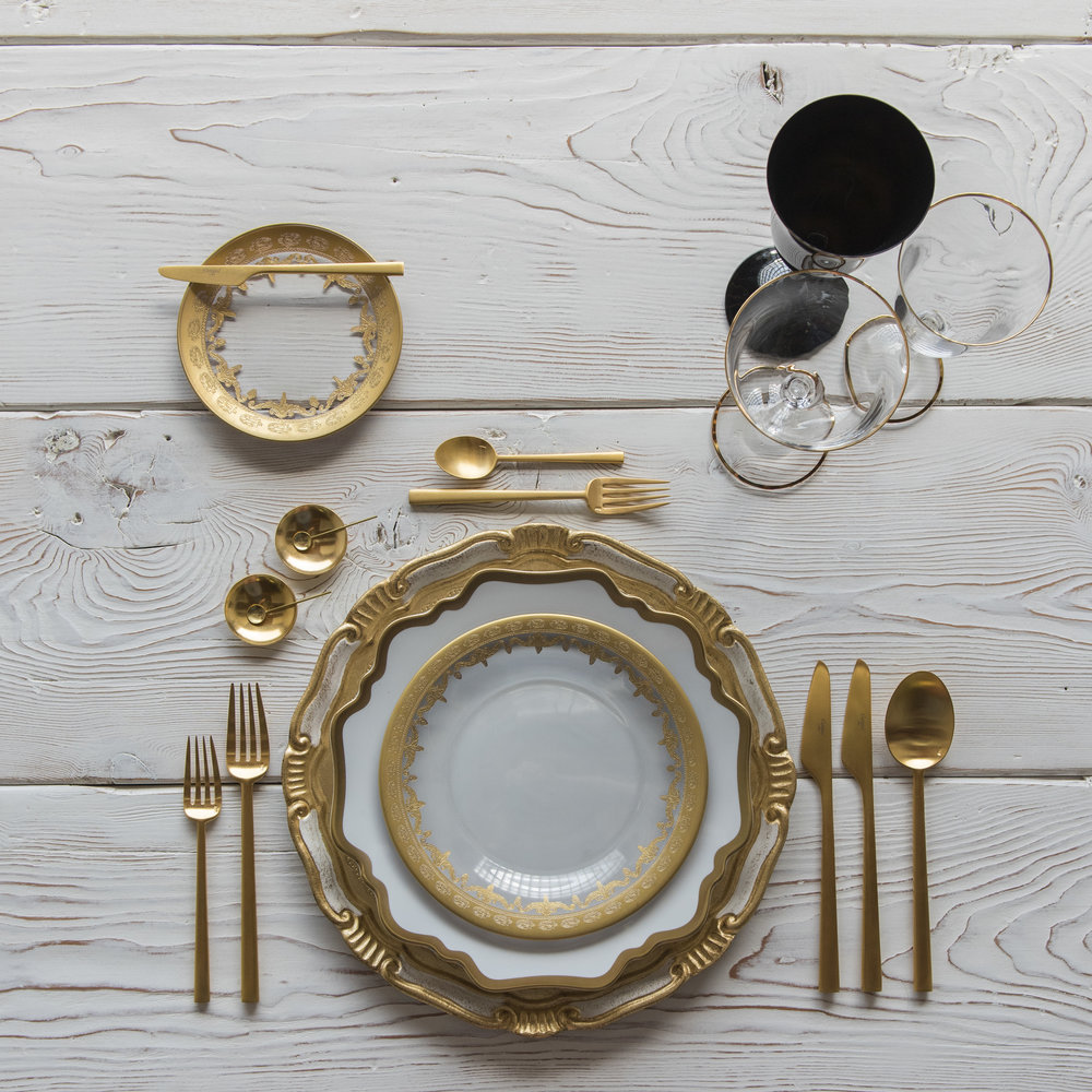 RENT: Florentine Chargers in White/Gold + Anna Weatherley Dinnerware in White/Gold + Versailles Glass Dinnerware in 24k Gold + Rondo Flatware in Brushed 24k Gold + Chloe 24k Gold Rimmed Stemware + Chloe 24k Gold Rimmed Goblet in Black + 14k Gold Salt Cellars + Tiny Gold Spoons   SHOP: Florentine Chargers in White/Gold + Anna Weatherley Dinnerware in White/Gold + Rondo Flatware in Brushed 24k Gold + Chloe 24k Gold Rimmed Stemware + 14k Gold Salt Cellars + Tiny Gold Spoons