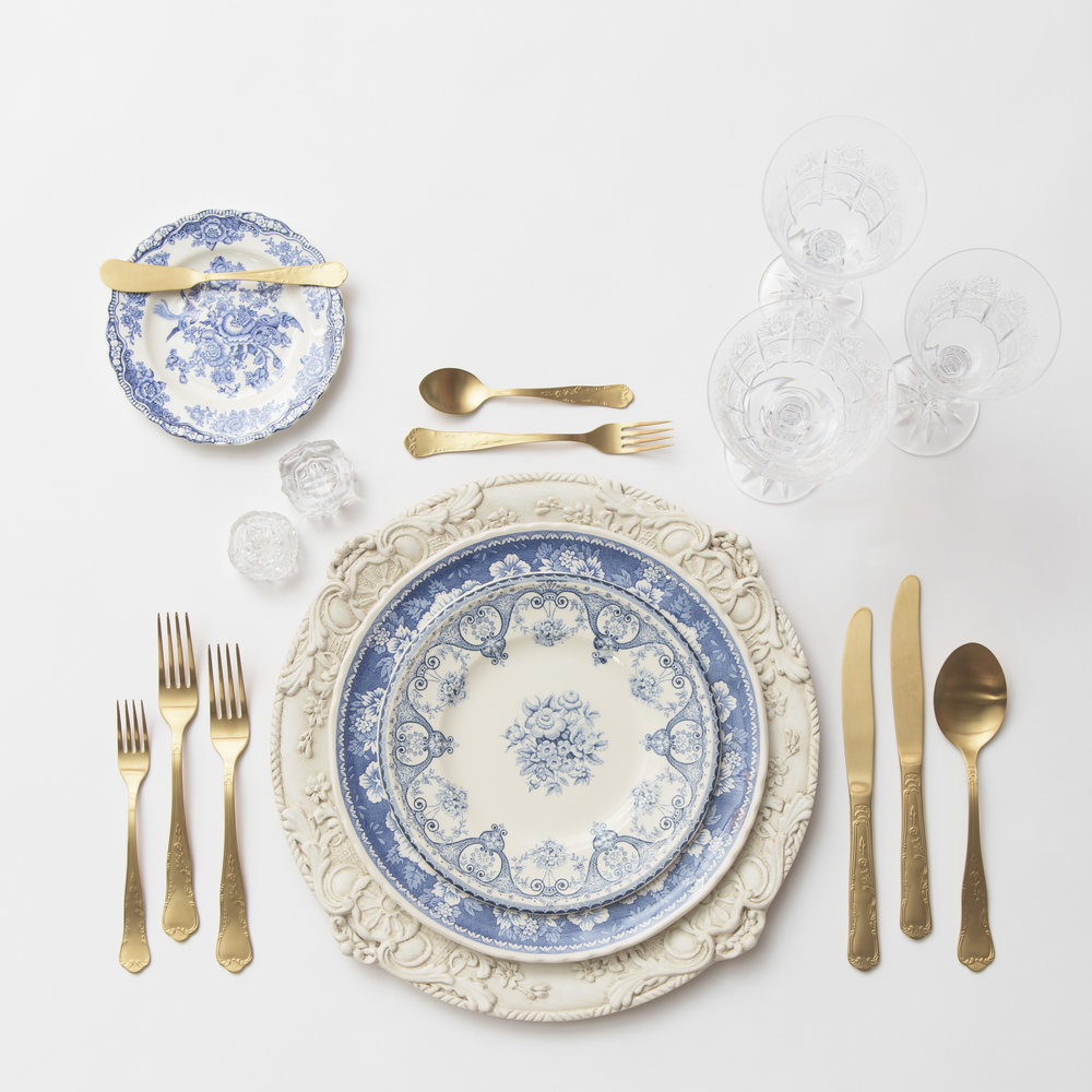 RENT: Verona Chargers in Antique White + Blue Garden Collection Vintage China + Chateau Flatware in Matte Gold + Czech Crystal Stemware + Antique Crystal Salt Cellars