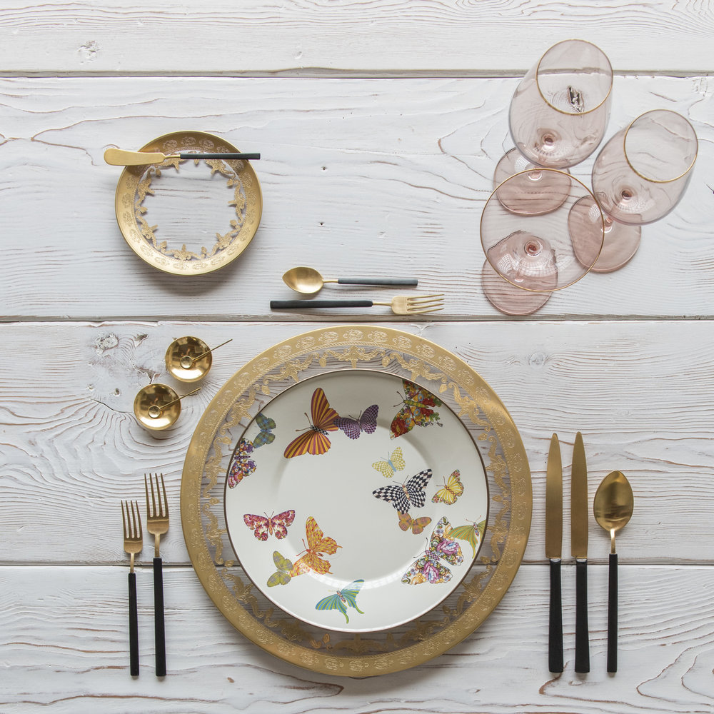 RENT: Versailles Glass Chargers/Dinnerware in 24k Gold + MacKenzie-Childs Butterfly Garden Collection + Axel Flatware in Matte 24k Gold/Black + Bella 24k Gold Rimmed Stemware in Blush + 14k Gold Salt Cellars + Tiny Gold Spoons  SHOP:  Bella 24k Gold Rimmed Stemware in Blush + 14k Gold Salt Cellars + Tiny Gold Spoons