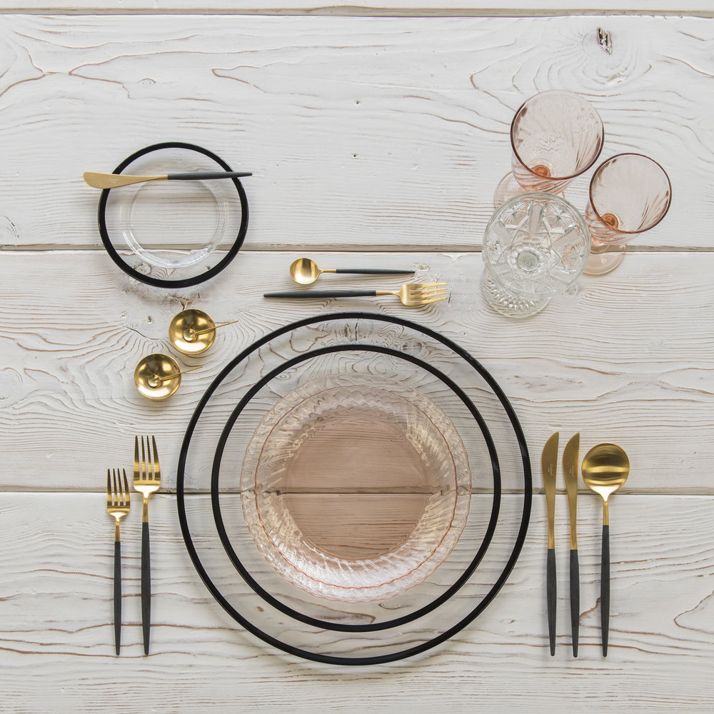 RENT: Halo Glass Chargers/Dinnerware in Black + Pink Swirl Collection Vintage China + Goa Flatware in Brushed 24k Gold/Black + Pink Swirl Vintage Goblets + Vintage Champagne Coupes + 14k Gold Salt Cellars + Tiny Gold Spoons   SHOP: Halo Glass Chargers/Dinnerware in Black + Goa Flatware in Brushed 24k Gold/Black + 14k Gold Salt Cellars + Tiny Gold Spoons