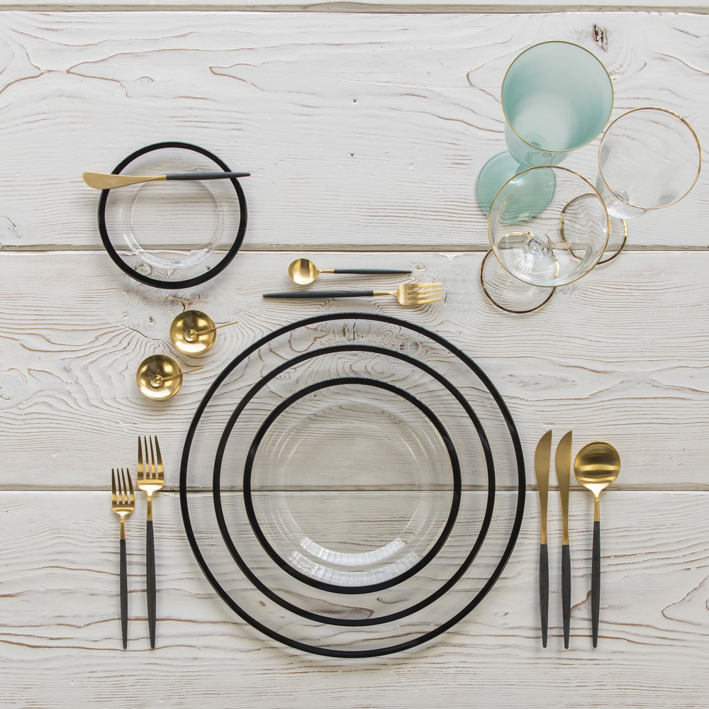 RENT: Halo Glass Chargers/Dinnerware in Black + Goa Flatware in Brushed 24k Gold/Black + Chloe 24k Gold Rimmed Stemware + Chloe 24k Gold Rimmed Goblet in Tiffany + 14k Gold Salt Cellars + Tiny Gold Spoons   SHOP: Halo Glass Chargers/Dinnerware in Black + Goa Flatware in Brushed 24k Gold/Black + Chloe 24k Gold Rimmed Stemware + 14k Gold Salt Cellars + Tiny Gold Spoons