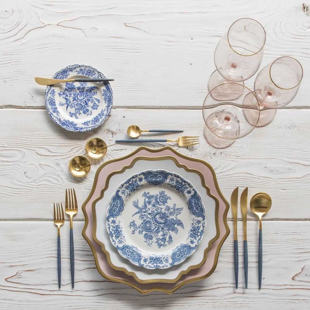 RENT: Anna Weatherley Chargers in Desert Rose/Gold + Anna Weatherley Dinnerware in White/Gold + Blue Garden Collection Vintage China + Goa Flatware in Brushed 24k Gold/Blue + Bella 24k Gold Rimmed Stemware in Blush + 14k Gold Salt Cellars + Tiny Gold Spoons   SHOP: Anna Weatherley Dinnerware in White/Gold + Goa Flatware in Brushed 24k Gold/Blue + Bella 24k Gold Rimmed Stemware in Blush + 14k Gold Salt Cellars + Tiny Gold Spoons
