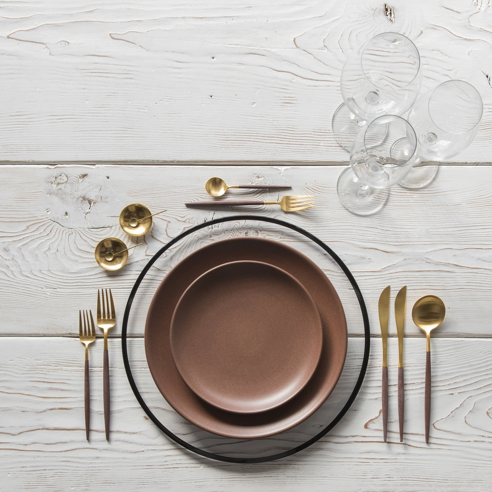 RENT: Halo Glass Chargers in Black + Heath Ceramics in Redwood + Goa Flatware in Brushed 24k Gold/Wood + Grand Cru Stemware + 14k Gold Salt Cellars + Tiny Gold Spoons   SHOP: Halo Glass Chargers in Black + Goa Flatware in Brushed 24k Gold/Wood + 14k Gold Salt Cellars + Tiny Gold Spoons