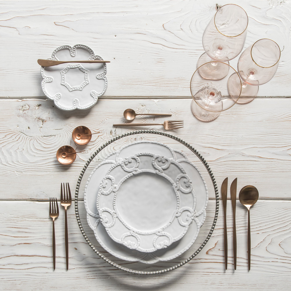 RENT: Pave Glass Chargers in Pewter + Signature Collection Dinnerware + Moon Flatware in Brushed Rose Gold + Bella 24k Gold Rimmed Stemware in Blush + Copper Salt Cellars + Tiny Copper Spoons   SHOP: Moon Flatware in Brushed Rose Gold + Bella 24k Gold Rimmed Stemware in Blush + Copper Salt Cellars + Tiny Copper Spoons