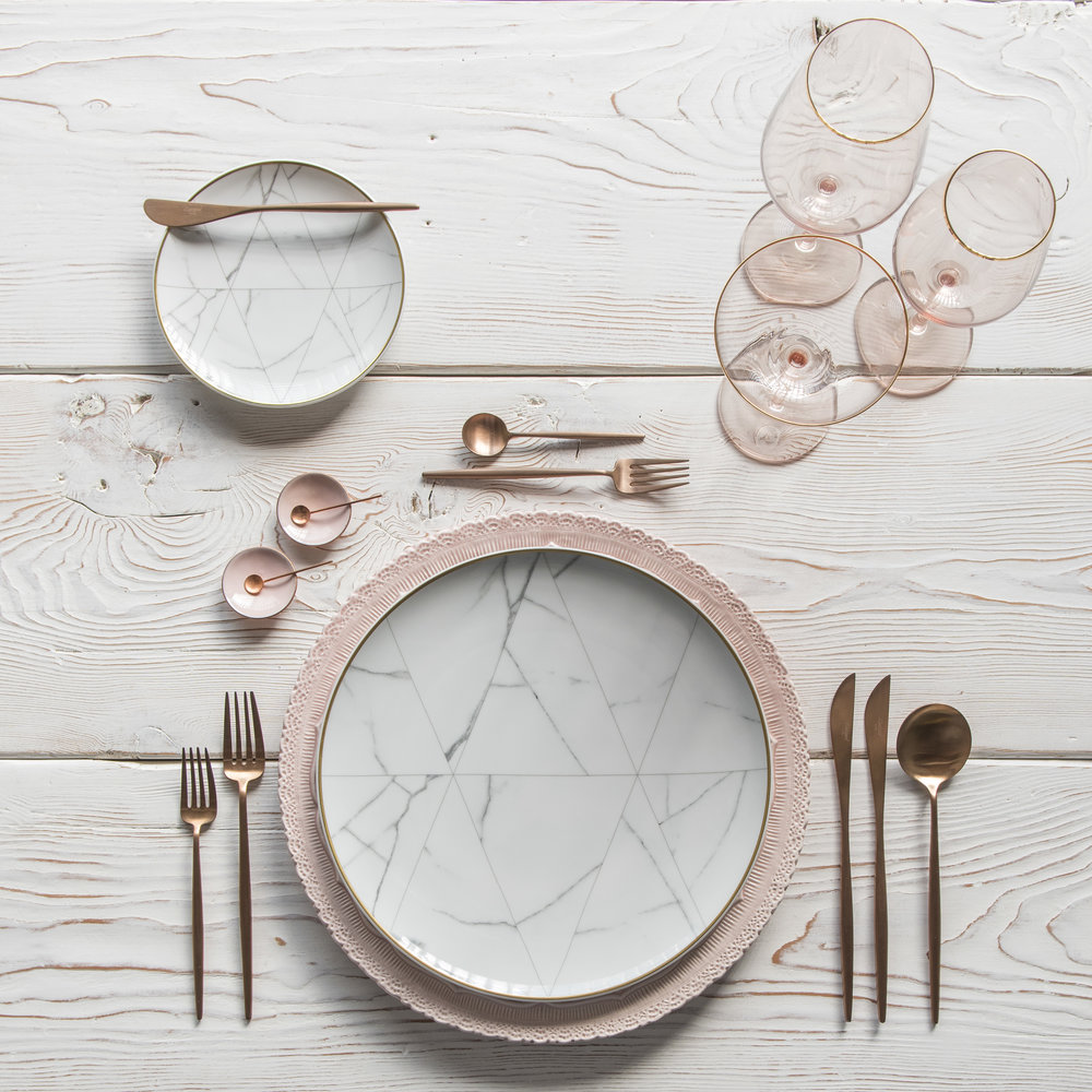 RENT: Lace Chargers in Blush + Carrara Dinnerware + Moon Flatware in Brushed Rose Gold + Bella 24k Gold Rimmed Stemware in Blush + Pink Enamel Salt Cellars + Tiny Copper Spoons  SHOP: Carrara Dinnerware + Moon Flatware in Brushed Rose Gold + Bella 24k Gold Rimmed Stemware in Blush + Pink Enamel Salt Cellars + Tiny Copper Spoons