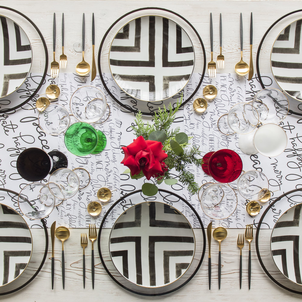 RENT: Halo Glass Chargers in Black + Christian Lacroix Sol Y Sombra Dinnerware + Goa Flatware in Brushed 24k Gold/Black + Chloe 24k Gold Rimmed Stemware + Chloe 24k Gold Rimmed Goblets in Black/Emerald/Ruby/White + 14k Gold Salt Cellars + Tiny Gold Spoons  SHOP:Halo Glass Chargers in Black + Christian Lacroix Sol Y Sombra Dinnerware + Goa Flatware in Brushed 24k Gold/Black + Chloe 24k Gold Rimmed Stemware + 14k Gold Salt Cellars + Tiny Gold Spoons