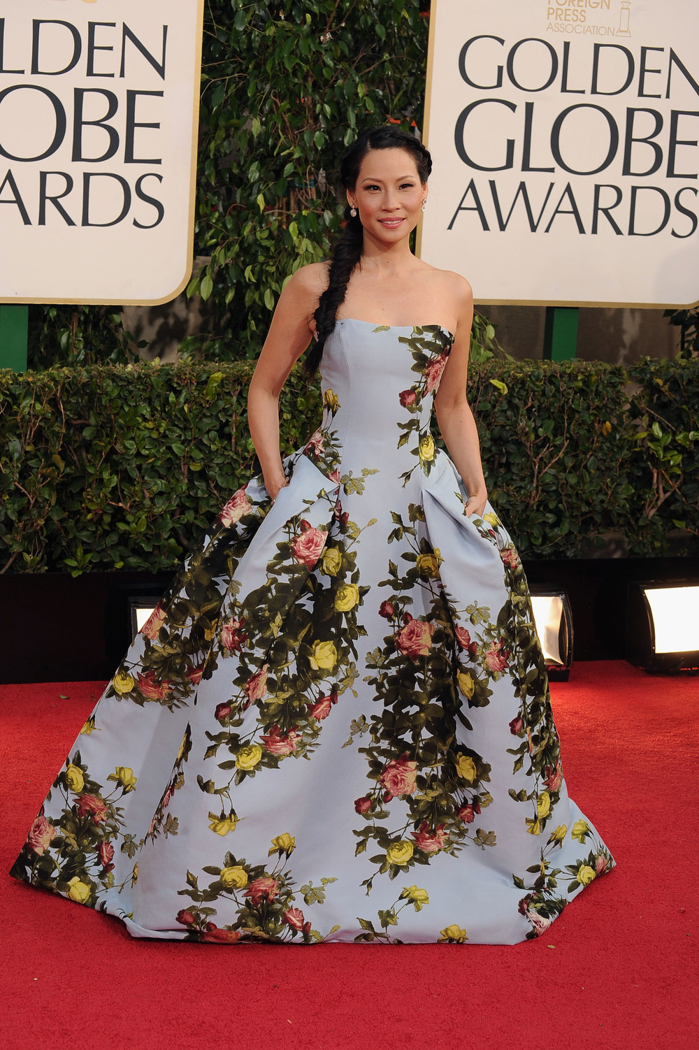 Lucy Liu at the 2013 Golden Globe Awards Red Carpet