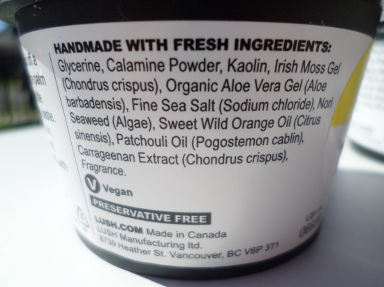 Lush Cosmetics Aqua Marina Ingredients