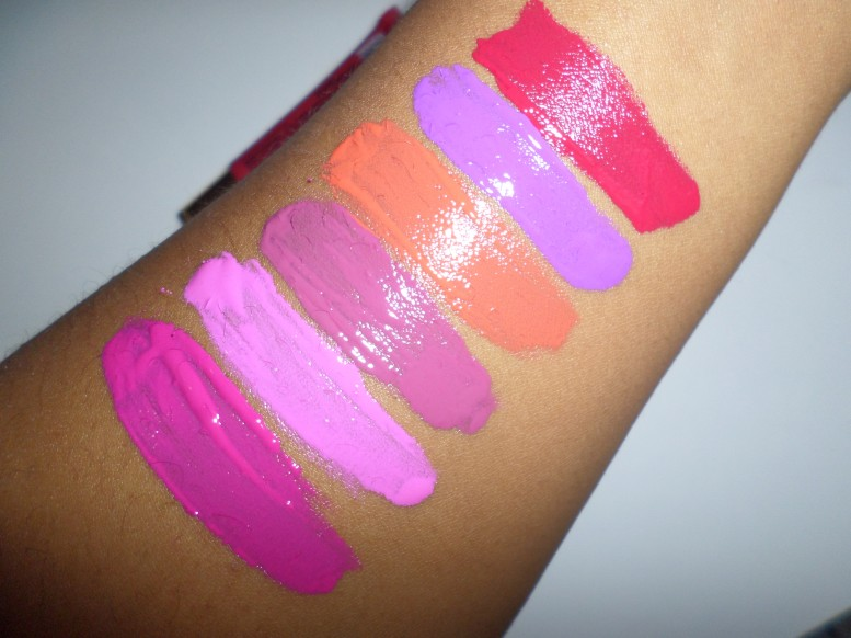 LA Girl Glazed Lip Paint (left to right) Bombshell, Babydoll, Blushing, Hot Mess, Coy, and Pin-Up Review and Swatches