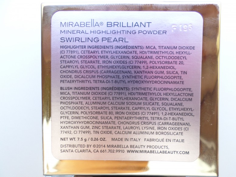 Mirabella Brilliant Mineral Highlighting Powder in Swirling Pearl ingredients