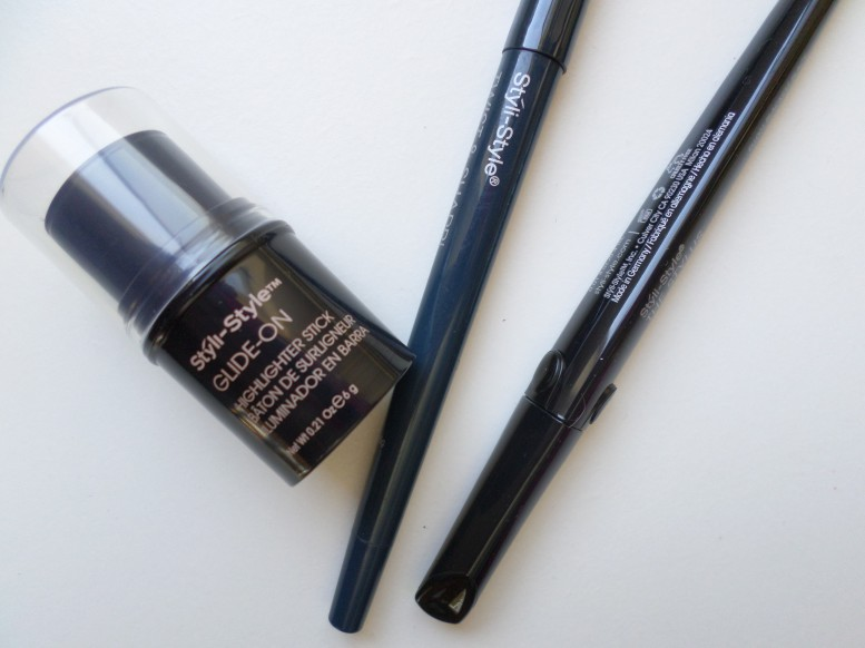 Styli-Style Stylus Liquid Eye Liner, TWIST & SHARP - SELF-SHARPENING EYELINER, Glide-On Highlight Stick in Champagne