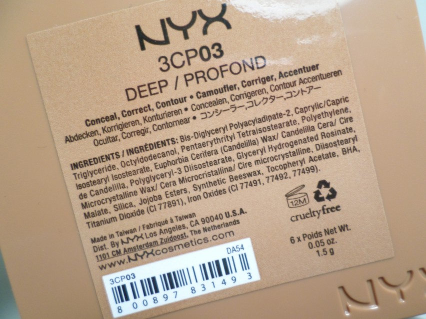 NYX Cosmetics 3C Conceal Correct Contour Palette in Deep ingredients