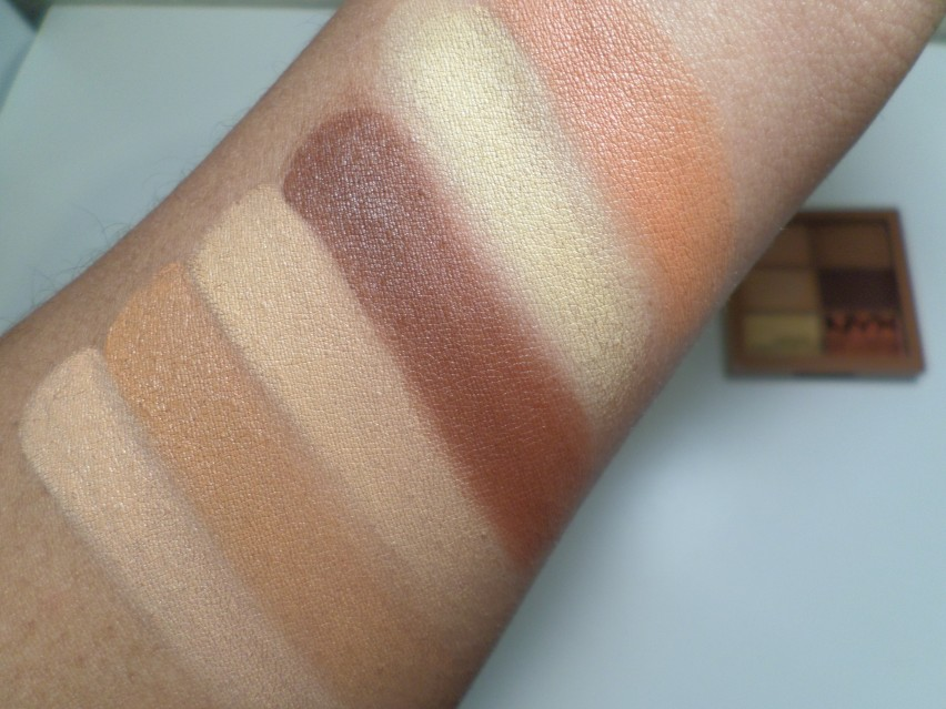 NYX Cosmetics 3C Conceal Correct Contour Palette in Deep swatches on brown skin
