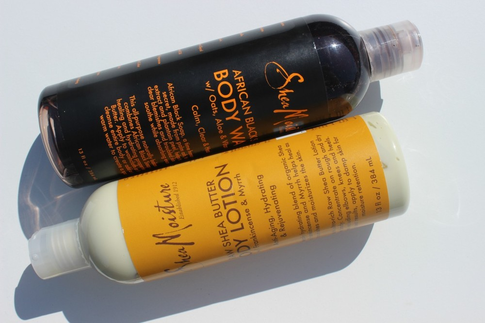 SheaMoisture African Black Soap Body Wash and Raw Shea Butter Body Lotion w/ Frankincense & Myrrh