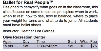 Ballet for Real People at Burbank Recreation Center Schedule 2016