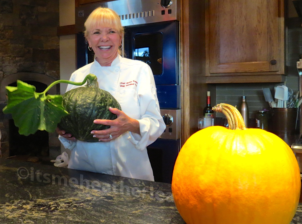 Chef Bette of The Well Traveled Fork with her grown-from-seed pumpkin!
