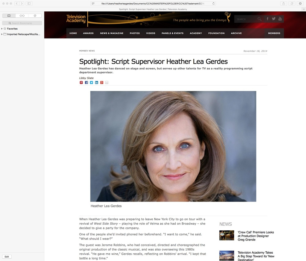 Heather Lea Gerdes Emmy Spotlight Feature Photo