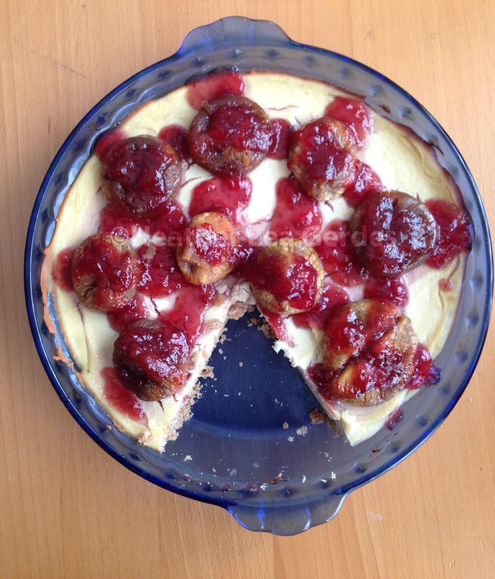 Organic & Vegan Fig Strawberry Drizzle Tofu Cheesecake with Homemade Graham Cracker Crust