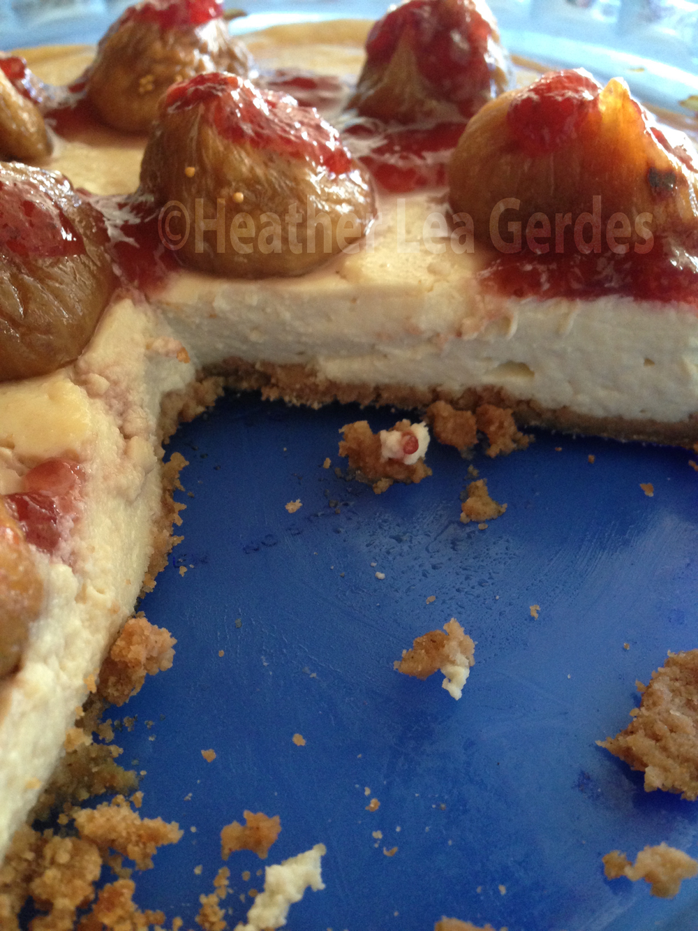 Fig Strawberry Drizzle Tofu Cheesecake Minus a Few Slices