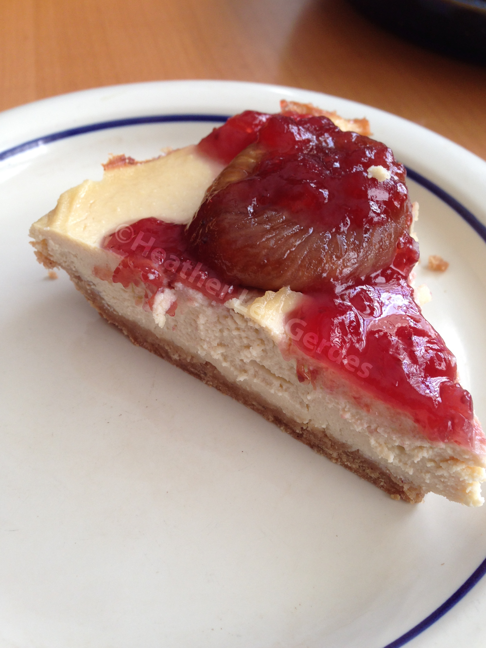 A Slice of Fig Strawberry Drizzle Tofu Cheesecake