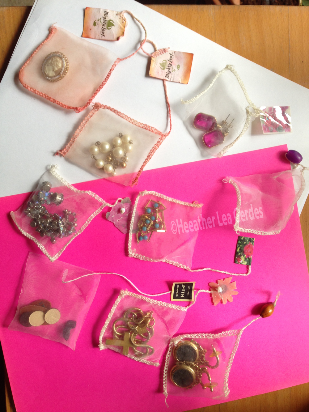 Recycled silk tea bags keep your jewelry organized and tangle-free.