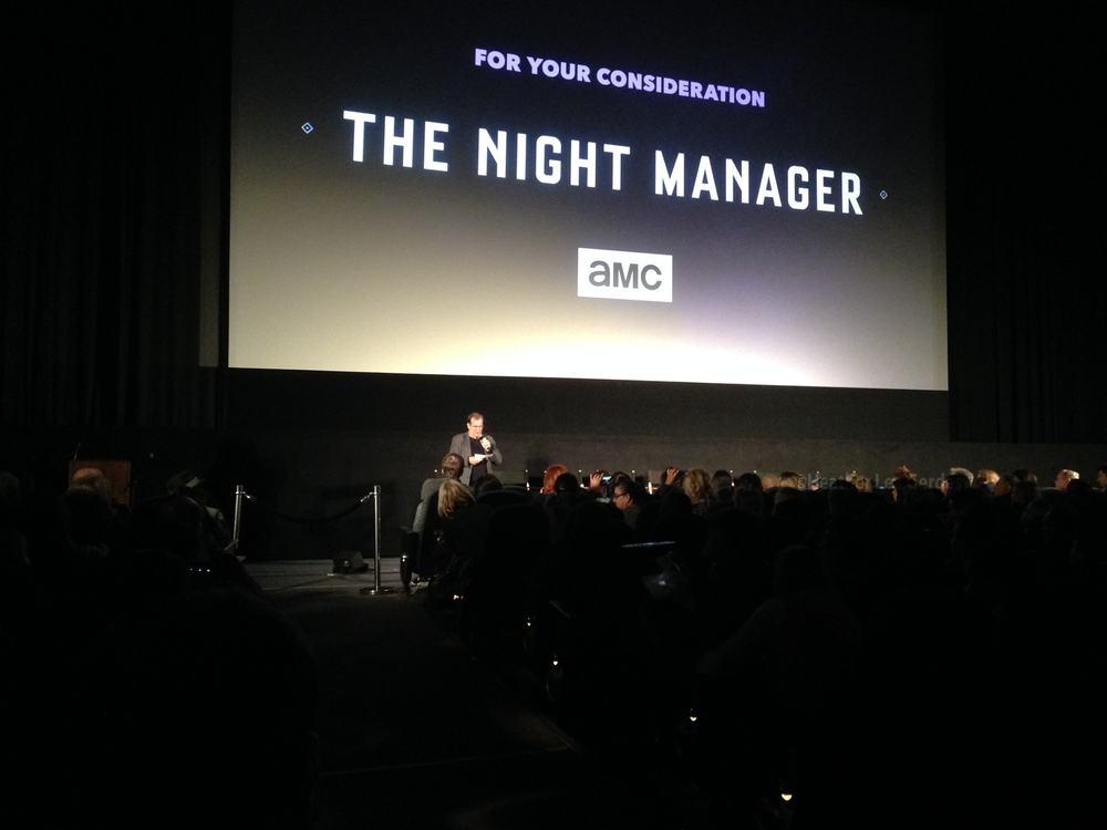 Pete Hammond , Moderator, introduces the panel for tonight's FYC event for  The Night Manager.