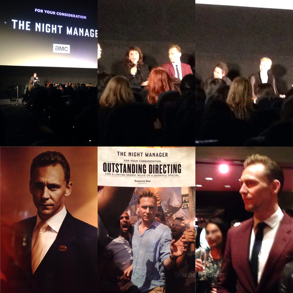 A collage of images from  The Night Manager's  FYC event, featuring Susanne Bier, Tom Hiddleston, Hugh Laurie, Olivia Colman, and Elizabeth Debicki.