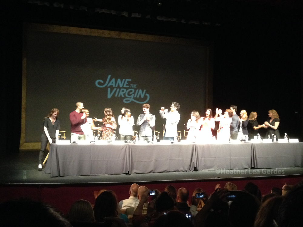 Jane the Virgin's  team is ready for a table read at the El Portal Theatre.