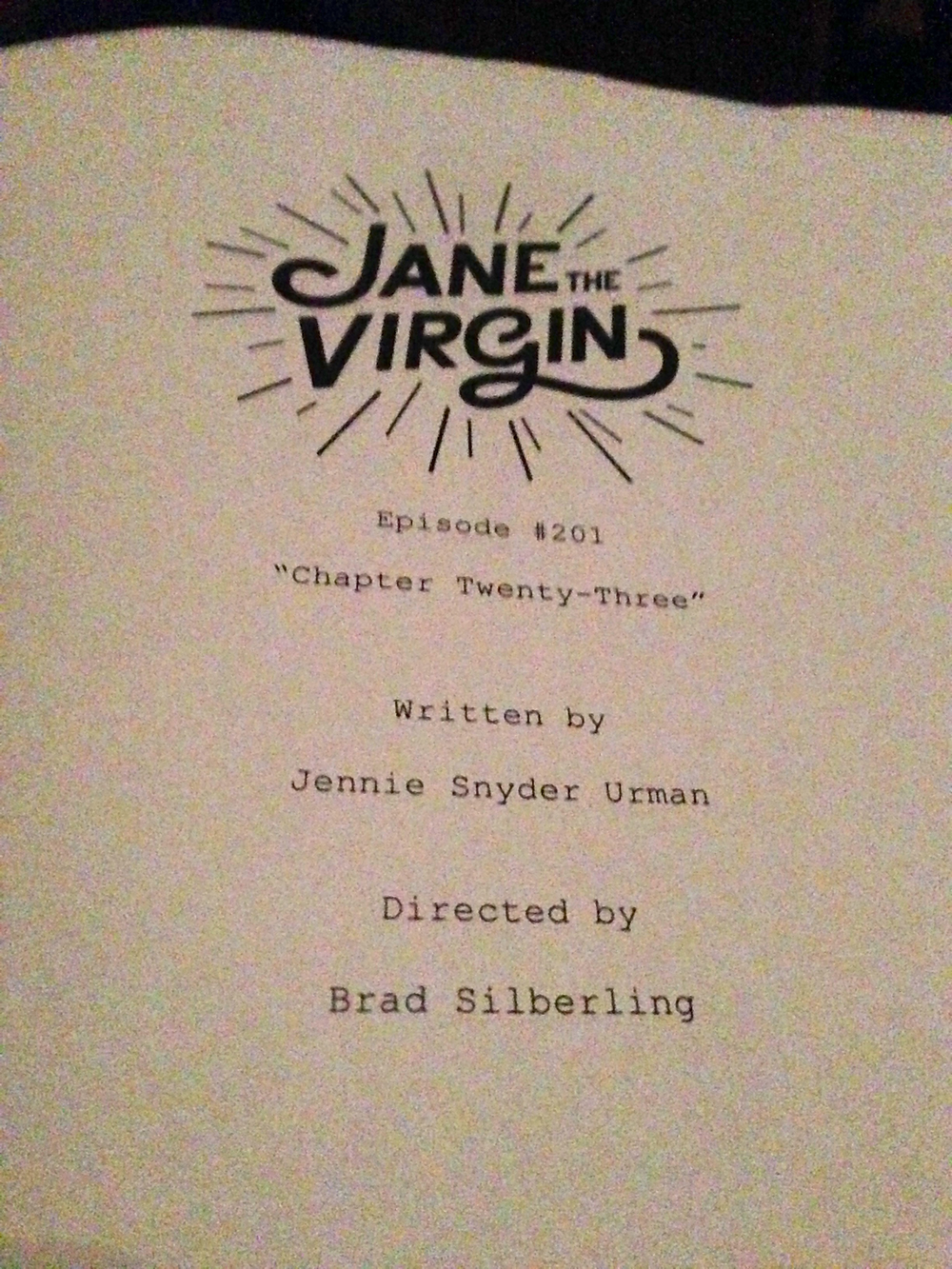 We were given a copy of the script to follow along during  Jane the Virgin's  table read.