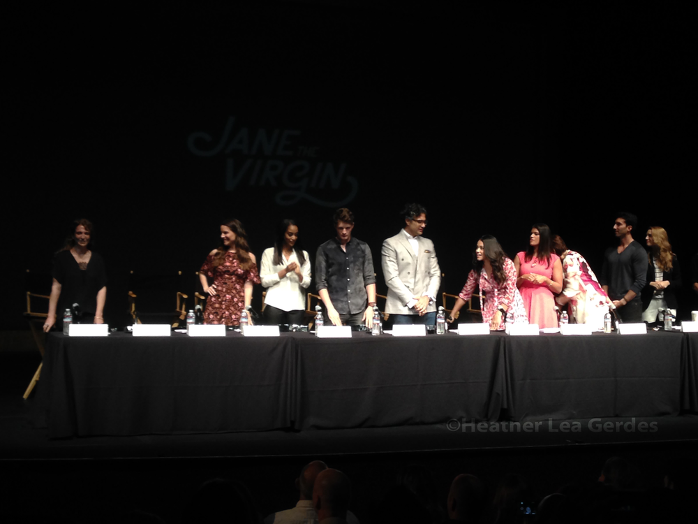 The cast and creator of  Jane the Virgin  settling in for a table read.