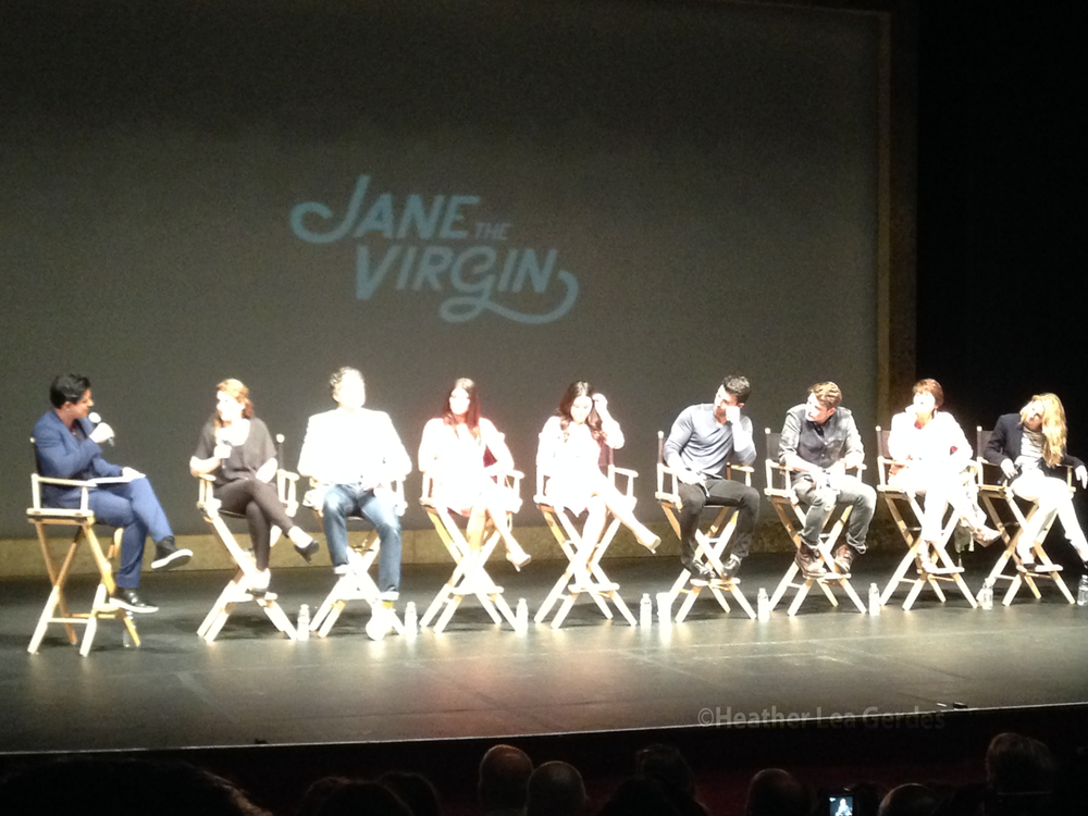 Mario Lopez talks to the cast of  Jane the Virgin  at The El Portal Theatre in NOHO.