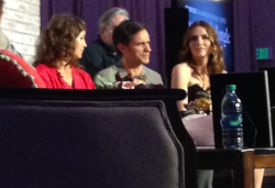Lola Kirke, Paul Weitz (hidden), Gael Garcia Bernal, Saffron Burrows, Mozart in the Jungle FYC @ The Hollywood Roosevelt Hotel